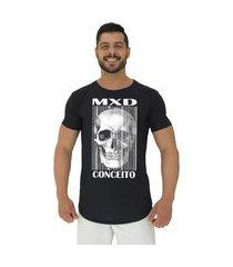camiseta longline alto conceito mxd skull preto