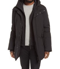 men's mackage edward water repellent down parka with removable bib, size 44 - black
