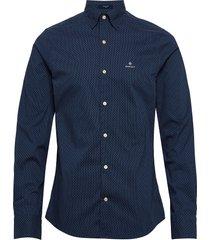 d1. tp bc micro print slim hbd overhemd casual blauw gant