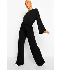 flared sleeve slouchy casual wide leg jumpsuit, black