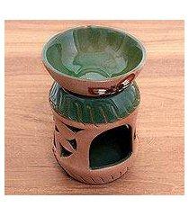ceramic oil warmer, 'aromatic garden' (indonesia)