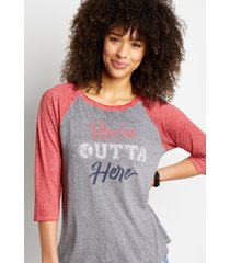 maurices womens gray you're outta here baseball graphic tee