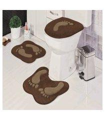 kit tapete de banheiro formato 3 peças antiderrapante pegada café