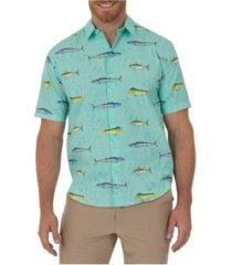 guy harvey men's mahi, wahoo and tuna printed woven shirt