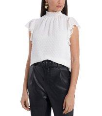 1.state swiss-dot smocked mock-neck blouse