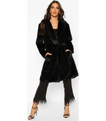 belted faux fur robe coat, black