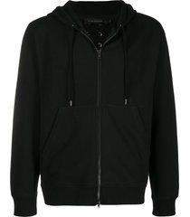 craig green lace-up detail zip hoodie - black