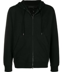 craig green lace-up detail zip hoodie - black