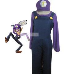top-grade super mario bros waluigi cosplay costume belt hat jumpsuit underwear