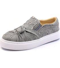 sapatenis casual click calçados em tecido jeans cinza torcido