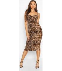 leopard print cupped midi dress, brown