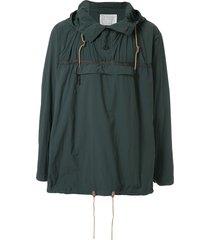 kolor lightweight panelled hoodie - green
