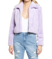 women's blanknyc faux fur crop jacket, size x-large - purple