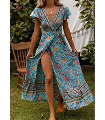 estilo bohemio vestido estampado de playa - azul claro