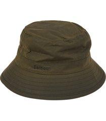 barbour green hat wax