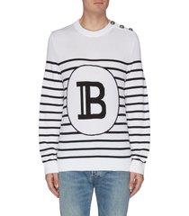 'mariniere' stripe button embellished sweater