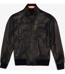leather bomber jacket blue 56