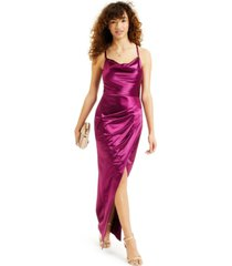 bcx juniors' cowlneck satin slim gown