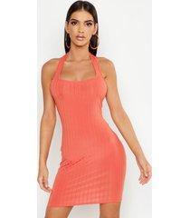 ribbed halter neck strappy mini bodycon dress, coral