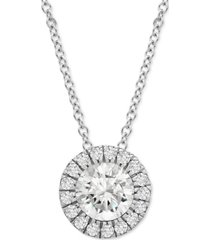 """platinum by wrapped in love diamond halo 20"""" pendant necklace (1/2 ct. t.w.) in platinum, created for macy's"""