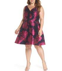 plus size women's xscape floral brocade fit & flare cocktail dress