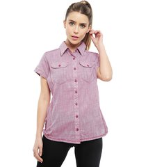 blusa columbia camp henry short sleeve rosa - calce regular
