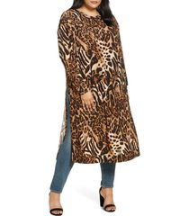 plus size women's coldesina jetset long sleeve tunic, size xl/1x - brown