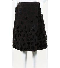 oscar de la renta leaf print silk skirt