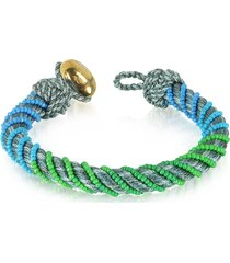 aurelie bidermann designer bracelets, maya anthracite bracelet w/18k gold-plated bead