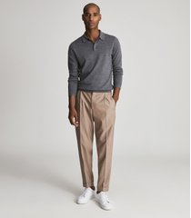 reiss trafford - merino wool polo shirt in mid grey melange, mens, size xxl