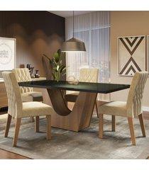 conjunto sala de jantar madesa hadassa mesa tampo de vidro com 4 cadeiras marrom - marrom - dafiti