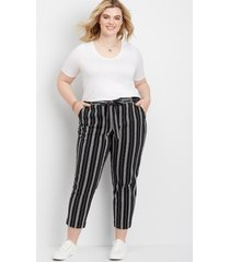 maurices plus size womens stripe pull on paper bag waist skinny ankle pants