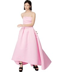 long and flared digimond dress without shoulder in duchesse
