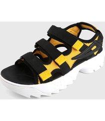 sandalia negro-amarillo fila disruptora