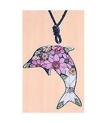 ceramic pendant necklace, 'spring dolphin' (thailand)