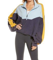 free people fp movement split second crop half-zip sweatshirt, size medium in navy combo at nordstrom