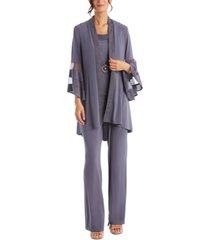 r & m richards petite 3-pc. high-low jacket, necklace top & pants set
