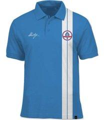 camisa polo fórmula retrô shelby cobra - azul