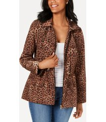 charter club animal-print anorak jacket, created for macy's