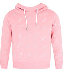 gcds mini pink girl sweatshirt with all-over logo