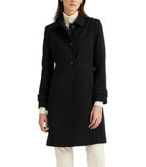 women's lauren ralph lauren crepe car coat, size x-large - black