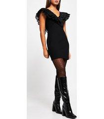 river island womens black frill bow detail fitted mini dress