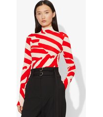 proenza schouler abstract animal print jacquard long sleeve turtleneck top ecru/poppy/orange l