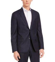 dkny men's modern-fit stretch navy stripe flannel suit separate jacket