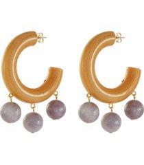 'the amethyst' bead drop wood hoop earrings