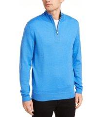club room men's quarter zip merino wool blend sweater, created for macy's