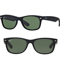 ray-ban small new wayfarer 52mm sunglasses in black rubber/crystal green at nordstrom