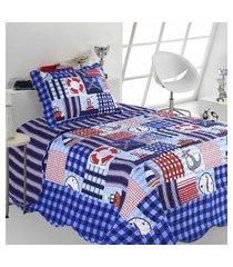 colcha infantil sultan patchwork kids marinheiro 2 peças azul