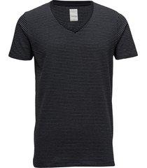 mens stretch v-neck tee s/s t-shirts short-sleeved blå lindbergh