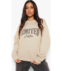 petite luipaardprint limited sweater, sand